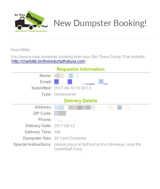 Rent a Dumpster via Online Booking Form