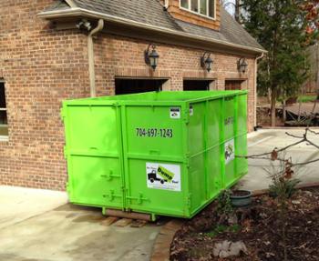 Dumpster in driveway