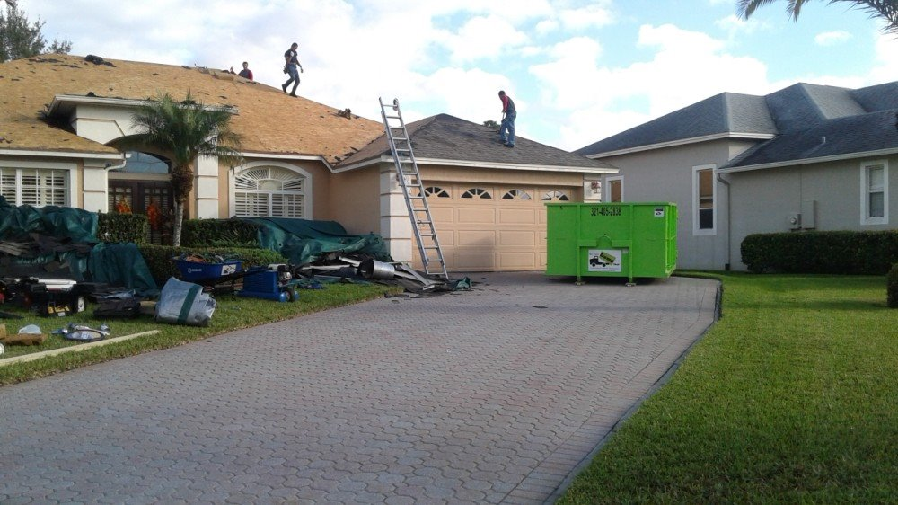 Orlando Roofing Job With Dumpster