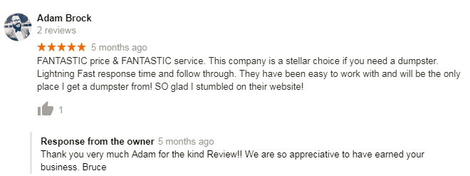 Pittsburgh Dumpster Rental Review on Google