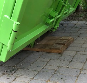 Driveway Being Protected From Dumpster Rental in Orangetown NY