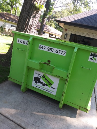 dumpster rental on the street in highland naperville, il