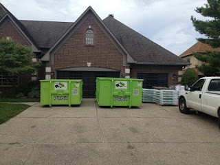 dumpster rental in indianapolis on driveway