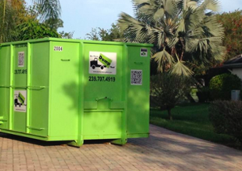 Dumpster on Driveway in Fort Myers