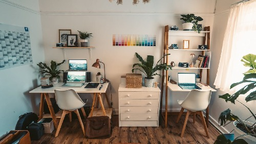clean home office set up