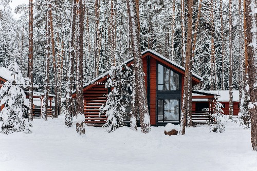 Wintery house covered in snow