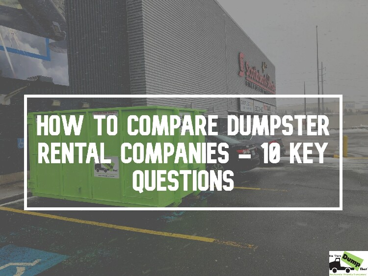 How To Compare Dumpster Rental Companies